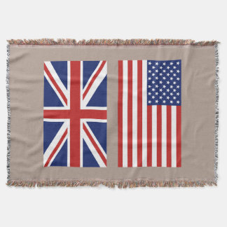 Union Jack and Old Glory. Throw Blanket
