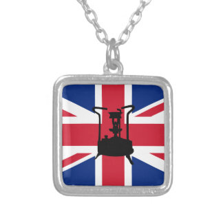 Union Jack and Paraffin pressure stove Silver Plated Necklace
