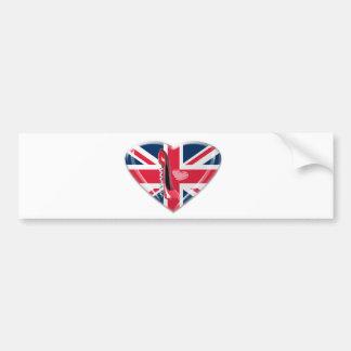 Union Jack and Red Corkscrew Stiletto Bumper Sticker