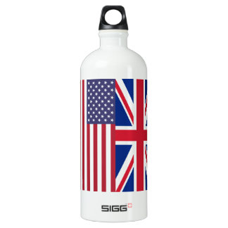 Union Jack And United States of America Flags Aluminum Water Bottle