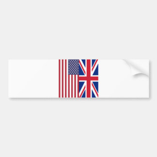 Union Jack And United States of America Flags Bumper Sticker