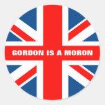 Union Jack anti Gordon Brown Round Stickers