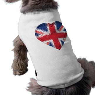 Union Jack apenó la bandera del corazón - Gran Playera Sin Mangas Para Perro