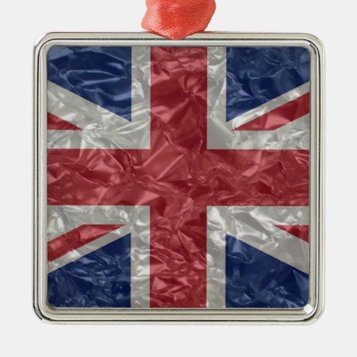 Union Jack - arrugado Adorno Navideño Cuadrado De Metal