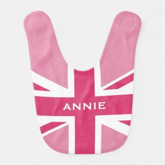 Union Jack Baby Pink Baby Bib