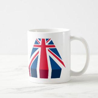Union Jack, bandera británica en 3D Taza Básica Blanca