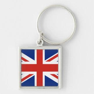 Union Jack - bandera de Gran Bretaña Llavero Cuadrado Plateado