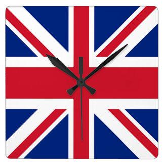 Union Jack - bandera del Reino Unido Reloj Cuadrado
