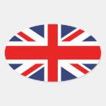 Union Jack Bandera-Unió el reino Colcomanias De Óval