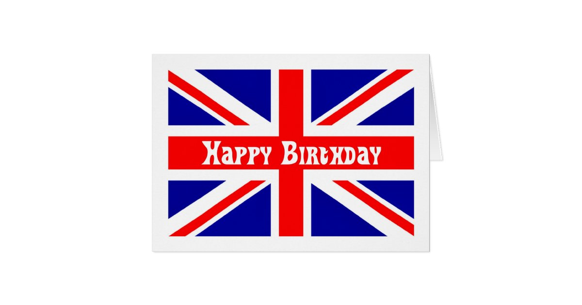 Union Jack Birthday Card English Flag Zazzle Com