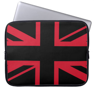 Union Jack ~ Black and Red Laptop Sleeve