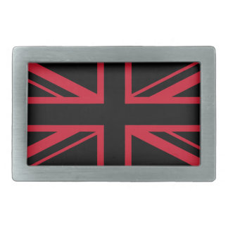 Union Jack ~ Black and Red Rectangular Belt Buckle