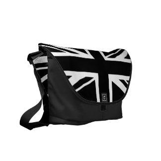 Union Jack ~ Black and White Courier Bag