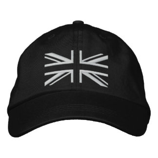 Union Jack ~ Black and White Embroidered Baseball Hat