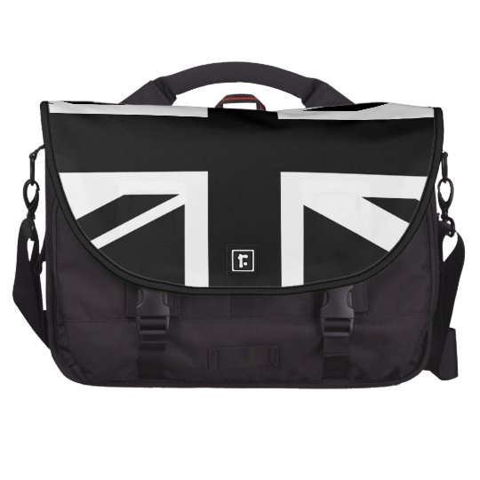 Union Jack ~ Black and White Laptop Computer Bag