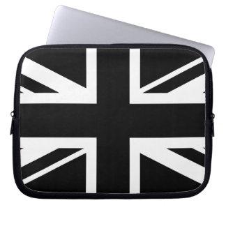 Union Jack ~ Black and White Laptop Sleeve