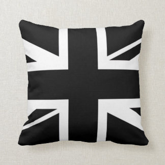 Union Jack ~ Black and White Throw Pillow