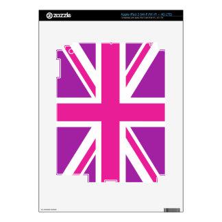 Union Jack/blanco púrpura del rosa del diseño de iPad 3 Skins