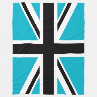 Union Jack blanco y negro azul Manta De Forro Polar