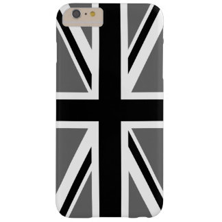 Union Jack blanco y negro gris Funda Barely There iPhone 6 Plus