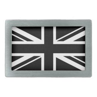 Union Jack blanco y negro Hebillas Cinturon Rectangulares