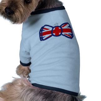 Union Jack Bow-tie and shirt art Doggie Tshirt
