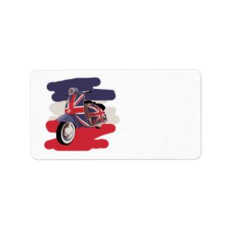 Union Jack Brit scooter Custom Address Label