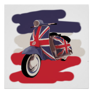 Union Jack Brit scooter Poster