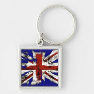 Union Jack británico apenado Llavero Cuadrado Plateado