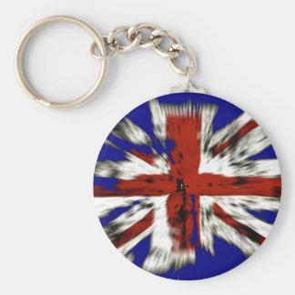 Union Jack británico apenado Llavero Redondo Tipo Pin