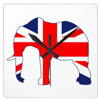 Union Jack British Elephant Clock