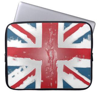 Union Jack British Flag Abstract Wax Art Laptop Sleeve