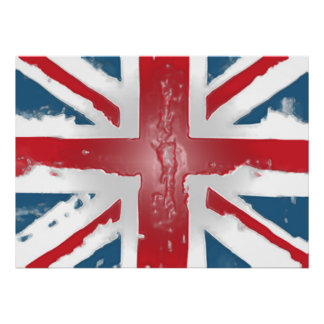 Union Jack British Flag Abstract Wax Art Poster