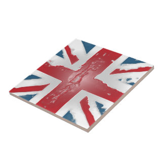 Union Jack British Flag Abstract Wax Art Small Square Tile