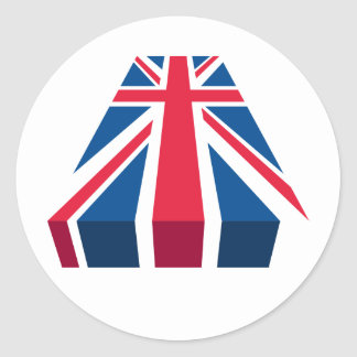 Union Jack, British flag in 3D Classic Round Sticker