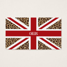 Union Jack British Flag with Cheetah Print Business Card