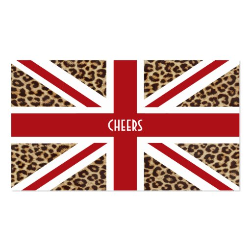 Union jack british flag with cheetah print double sided for Union made business cards