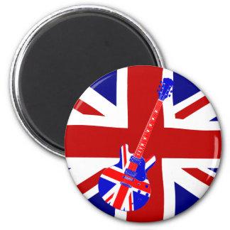 Union Jack British Guitar Art 2 2 Inch Round Magnet