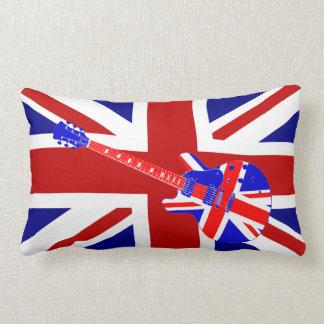 Union Jack British Guitar Art 2 Throw Pillows