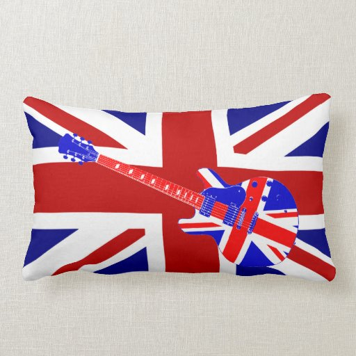 Union Jack British Guitar Art 2 Throw Pillow