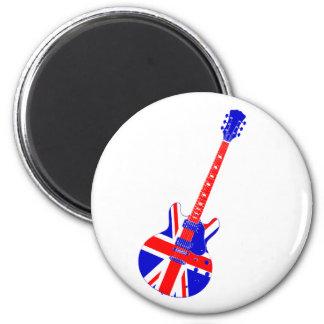 Union Jack British Guitar Art 2 Inch Round Magnet