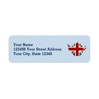Union Jack British Teapot Return Address Labels