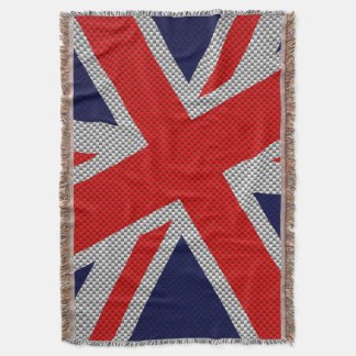 Union Jack Carbon Fiber Style Decor Throw Blanket