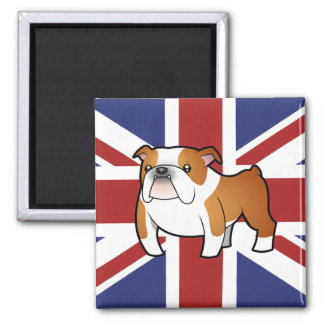Union Jack Cartoon English Bulldog 2 Inch Square Magnet