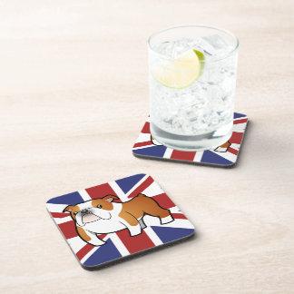 Union Jack Cartoon English Bulldog Coasters