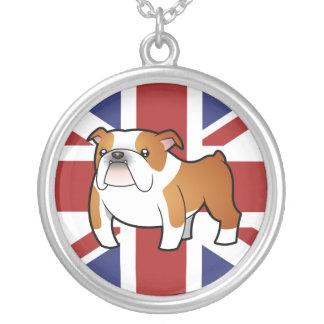 Union Jack Cartoon English Bulldog Necklaces