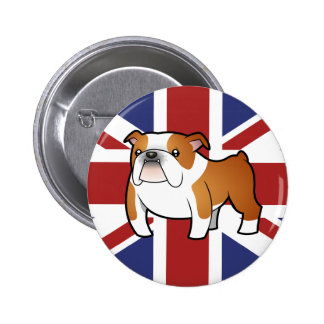 Union Jack Cartoon English Bulldog Pinback Button