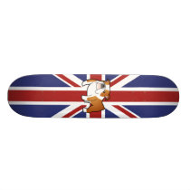 Union Jack Cartoon English Bulldog Skateboard
