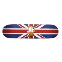 Union Jack Cartoon English Bulldog Skateboard
