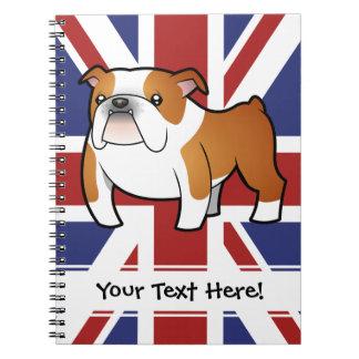 Union Jack Cartoon English Bulldog Spiral Notebook